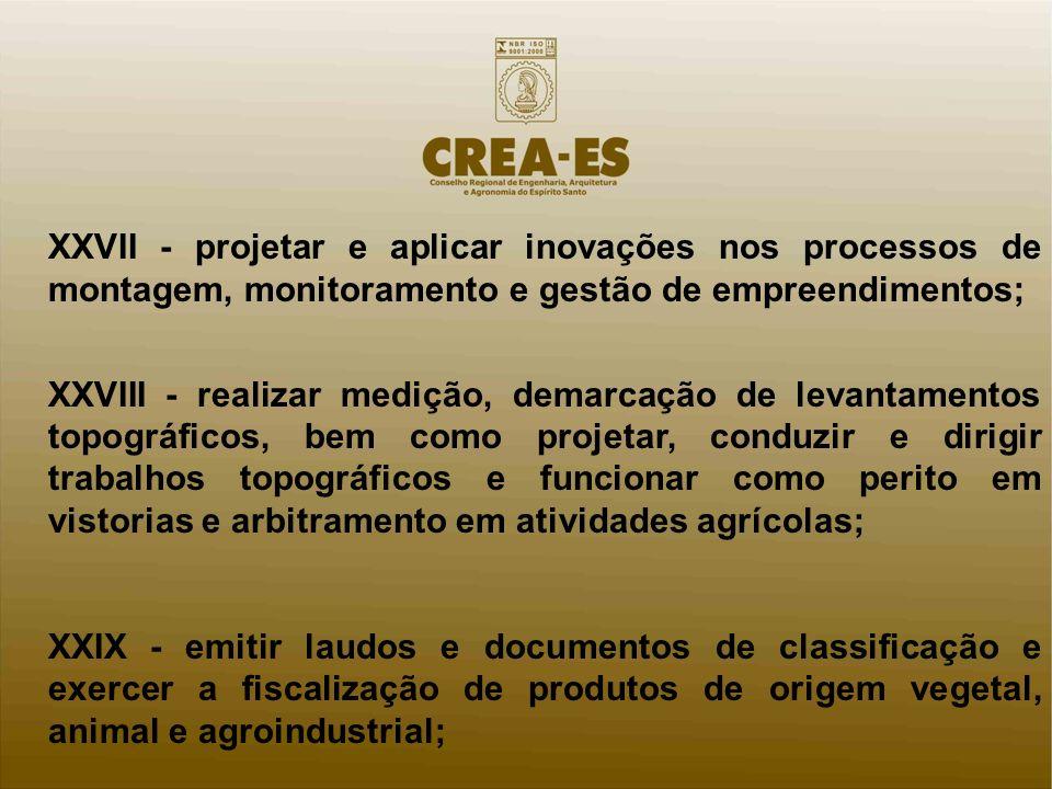 XXVII - projetar e aplicar inovações nos processos de montagem, monitoramento e gestão de empreendimentos; XXVIII - realizar medição, demarcação de le