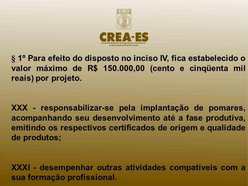 § 1º Para efeito do disposto no inciso IV, fica estabelecido o valor máximo de R$ 150.000,00 (cento e cinqüenta mil reais) por projeto. XXX - responsa