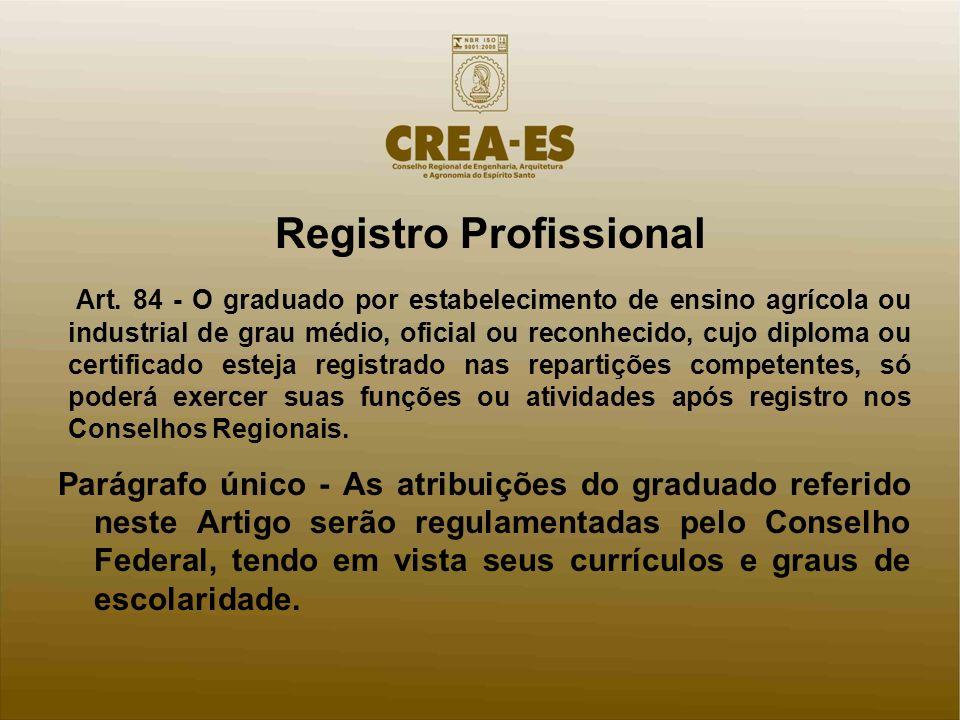 Registro Profissional Art. 84 - O graduado por estabelecimento de ensino agrícola ou industrial de grau médio, oficial ou reconhecido, cujo diploma ou