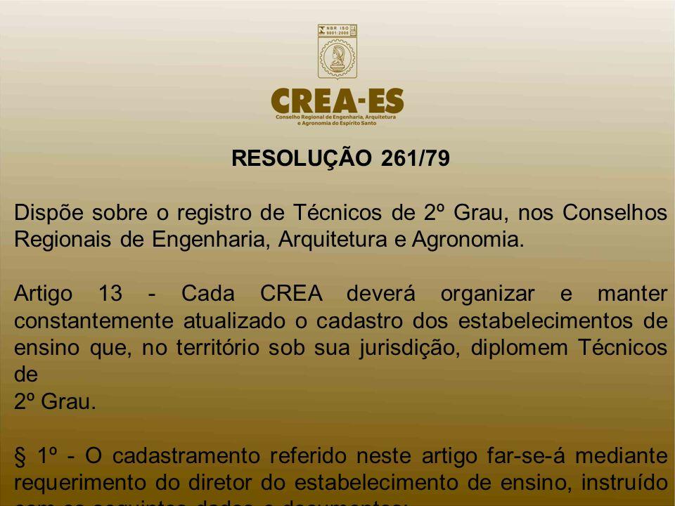 RESOLUÇÃO 261/79 Dispõe sobre o registro de Técnicos de 2º Grau, nos Conselhos Regionais de Engenharia, Arquitetura e Agronomia. Artigo 13 - Cada CREA