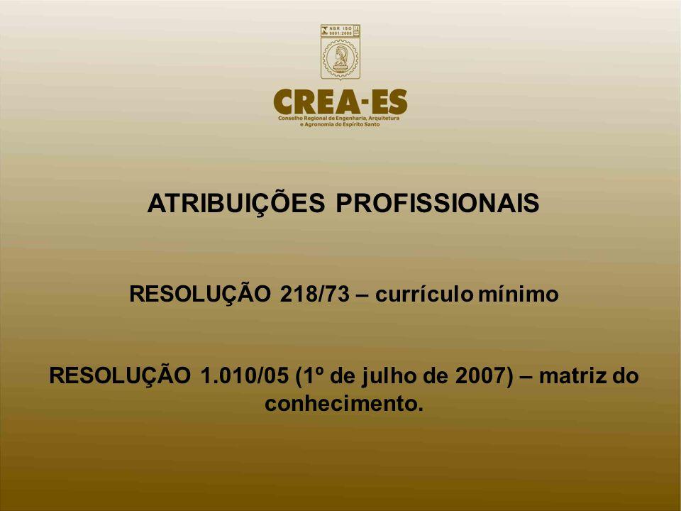 ATRIBUIÇÕES PROFISSIONAIS RESOLUÇÃO 218/73 – currículo mínimo RESOLUÇÃO 1.010/05 (1º de julho de 2007) – matriz do conhecimento.