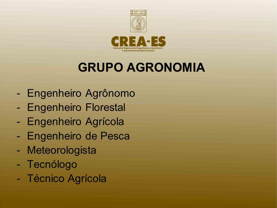 GRUPO AGRONOMIA -Engenheiro Agrônomo -Engenheiro Florestal -Engenheiro Agrícola -Engenheiro de Pesca -Meteorologista -Tecnólogo -Técnico Agrícola