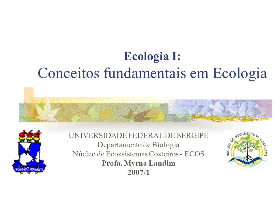 Ecologia I: Conceitos fundamentais em Ecologia UNIVERSIDADE FEDERAL DE SERGIPE Departamento de Biologia Núcleo de Ecossistemas Costeiros - ECOS Profa.
