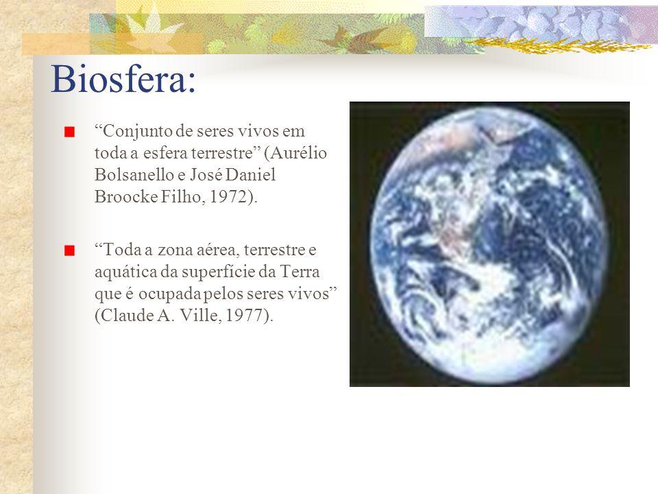 Conjunto de seres vivos em toda a esfera terrestre (Aurélio Bolsanello e José Daniel Broocke Filho, 1972). Toda a zona aérea, terrestre e aquática da