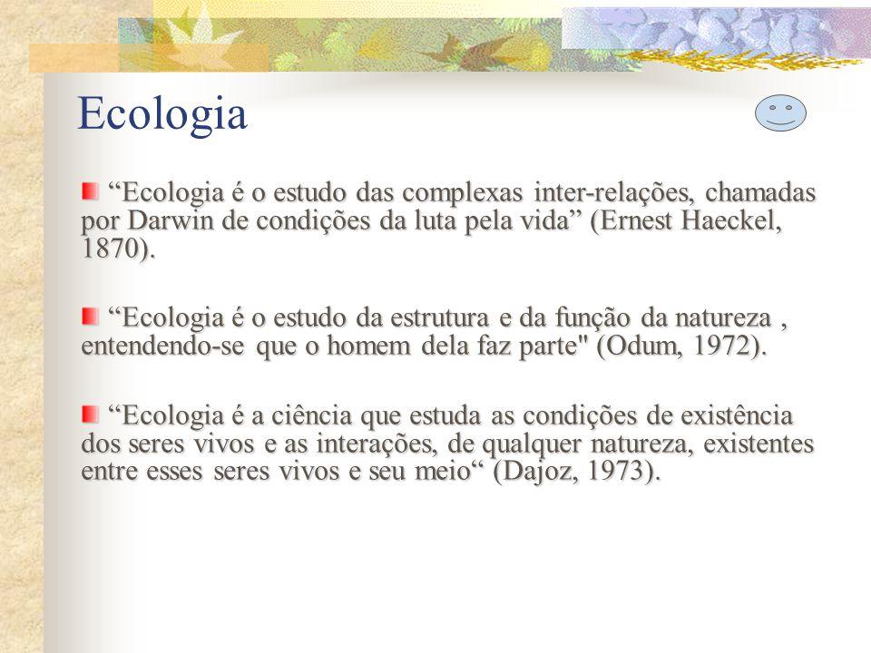 Ecologia Ecologia é o ramo da ciência concernente à inter-relação dos organismos e seus ambientes, manifestada em especial por: ciclos e ritmos naturais; desenvolvimento e estrutura das comunidades; distribuição geográfica; interações dos diferentes tipos de organismos; alterações de população; o modelo ou a totalidade das relações entre os organismos e seu ambiente (Webster`s, 1976).