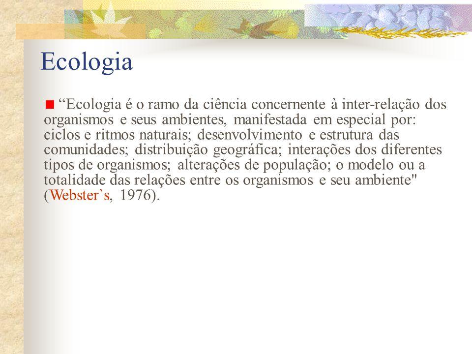 Ecologia Ecologia é o ramo da ciência concernente à inter-relação dos organismos e seus ambientes, manifestada em especial por: ciclos e ritmos natura
