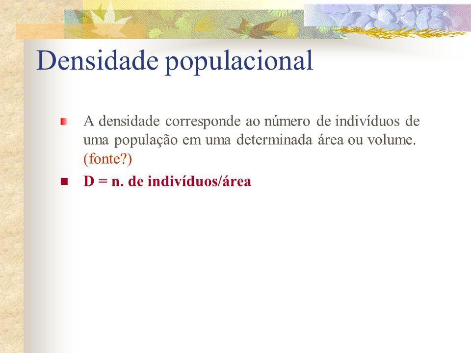 Densidade populacional A densidade corresponde ao número de indivíduos de uma população em uma determinada área ou volume. (fonte?) D = n. de indivídu