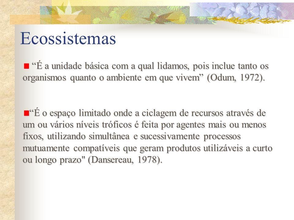 Ecossistemas É a unidade básica com a qual lidamos, pois inclue tanto os organismos quanto o ambiente em que vivem (Odum, 1972). É o espaço limitado o