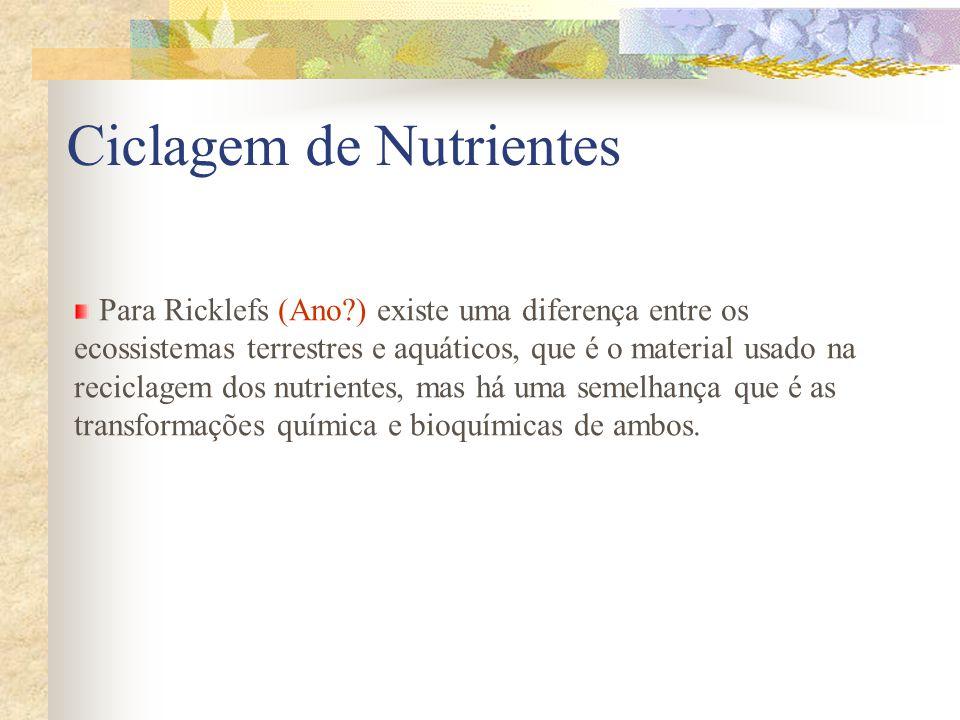 Para Ricklefs (Ano?) existe uma diferença entre os ecossistemas terrestres e aquáticos, que é o material usado na reciclagem dos nutrientes, mas há um