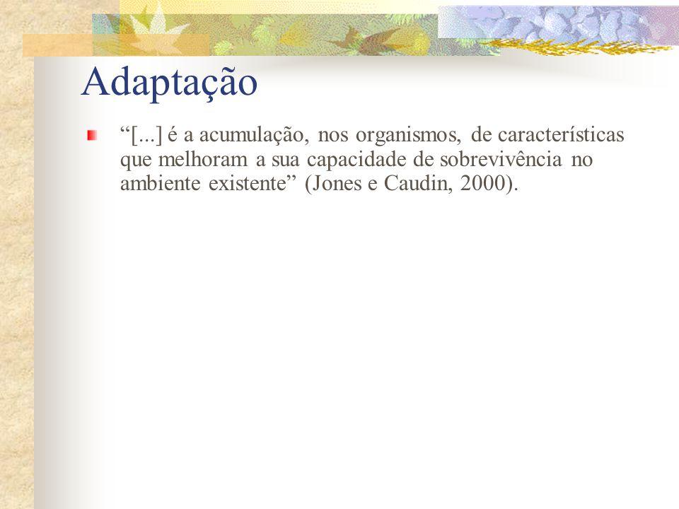 Adaptação [...] é a acumulação, nos organismos, de características que melhoram a sua capacidade de sobrevivência no ambiente existente (Jones e Caudi