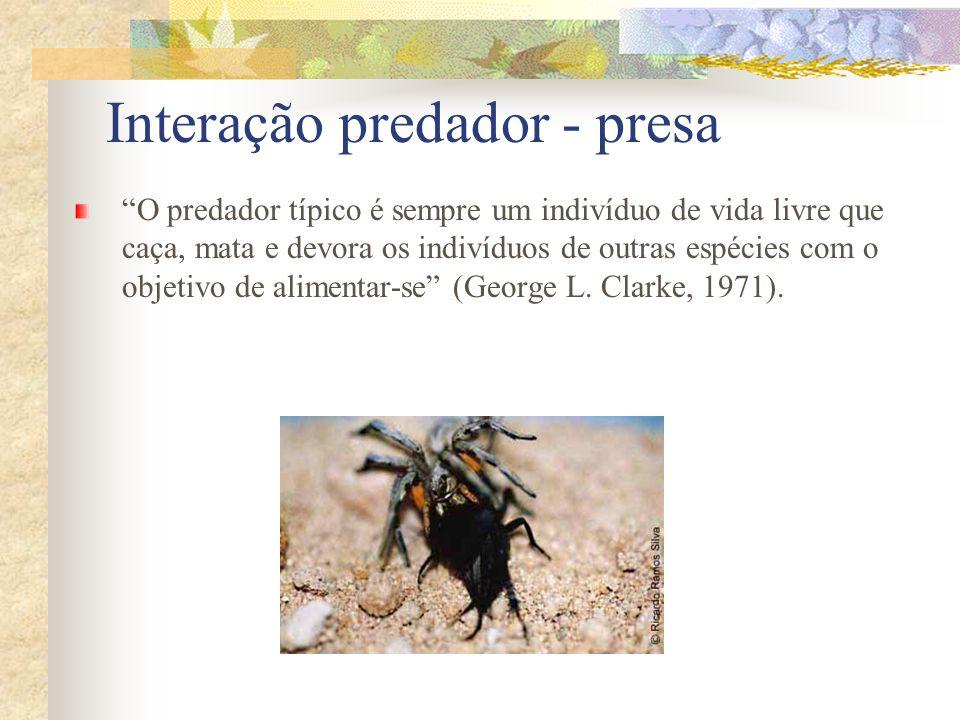 Interação predador - presa O predador típico é sempre um indivíduo de vida livre que caça, mata e devora os indivíduos de outras espécies com o objeti