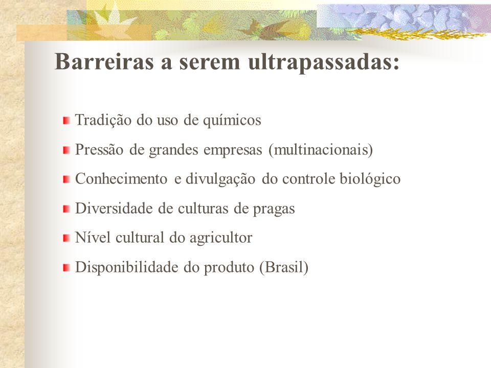 Barreiras a serem ultrapassadas: Tradição do uso de químicos Pressão de grandes empresas (multinacionais) Conhecimento e divulgação do controle biológ