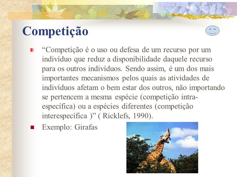 Competição Competição é o uso ou defesa de um recurso por um indivíduo que reduz a disponibilidade daquele recurso para os outros indivíduos. Sendo as