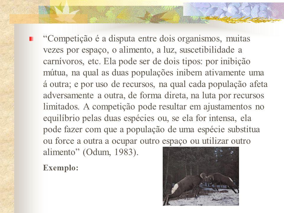 Competição é a disputa entre dois organismos, muitas vezes por espaço, o alimento, a luz, suscetibilidade a carnívoros, etc. Ela pode ser de dois tipo