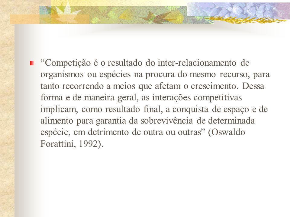 Competição é o resultado do inter-relacionamento de organismos ou espécies na procura do mesmo recurso, para tanto recorrendo a meios que afetam o cre