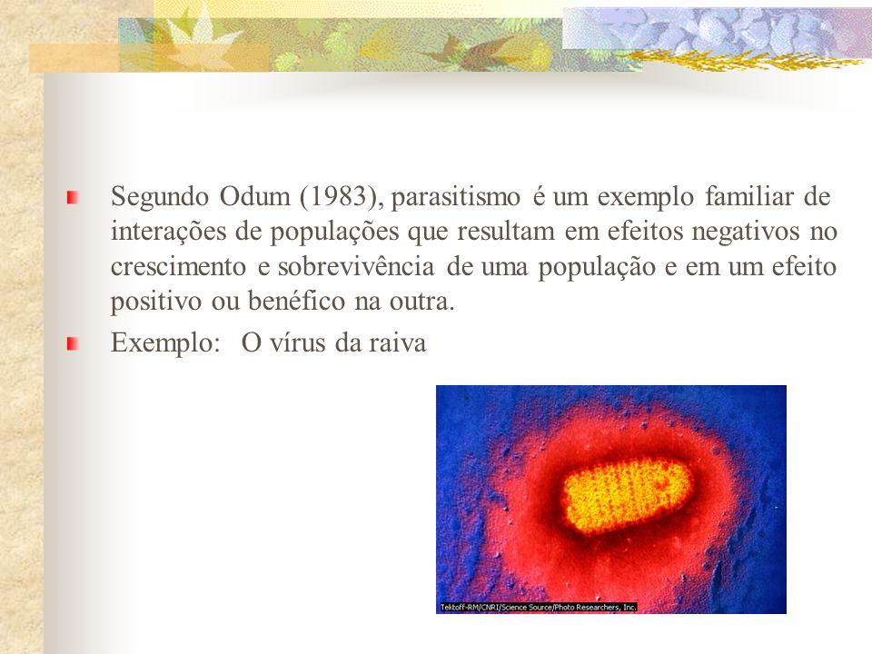 Segundo Odum (1983), parasitismo é um exemplo familiar de interações de populações que resultam em efeitos negativos no crescimento e sobrevivência de