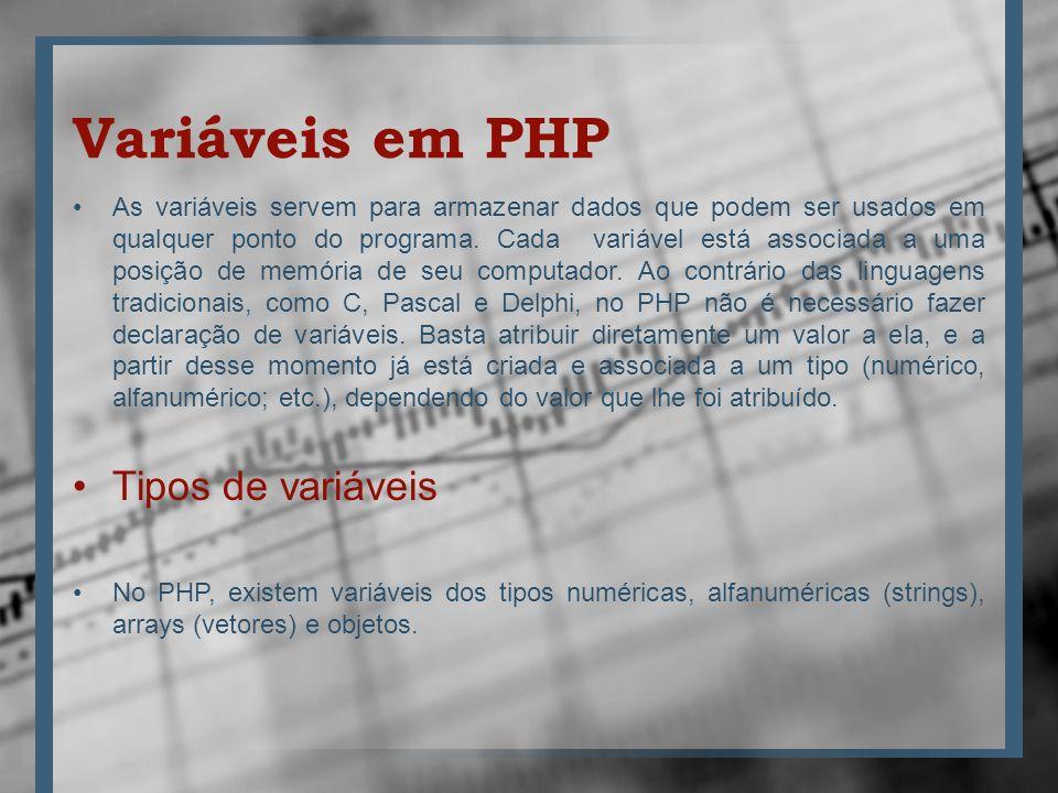 Variáveis em PHP As variáveis servem para armazenar dados que podem ser usados em qualquer ponto do programa. Cada variável está associada a uma posiç
