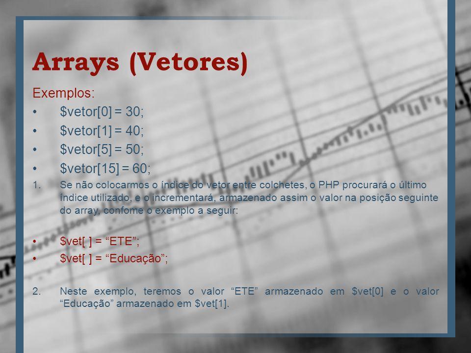 Arrays (Vetores) Exemplos: $vetor[0] = 30; $vetor[1] = 40; $vetor[5] = 50; $vetor[15] = 60; 1.Se não colocarmos o índice do vetor entre colchetes, o P