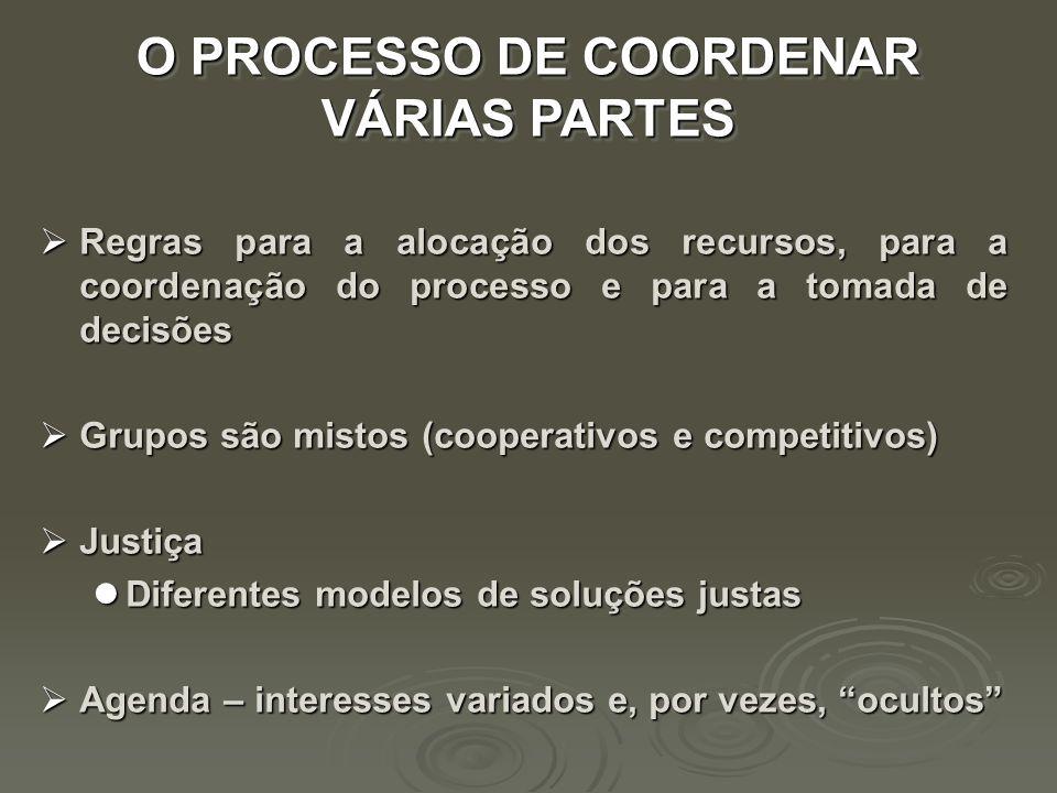 Regras para a alocação dos recursos, para a coordenação do processo e para a tomada de decisões Regras para a alocação dos recursos, para a coordenaçã