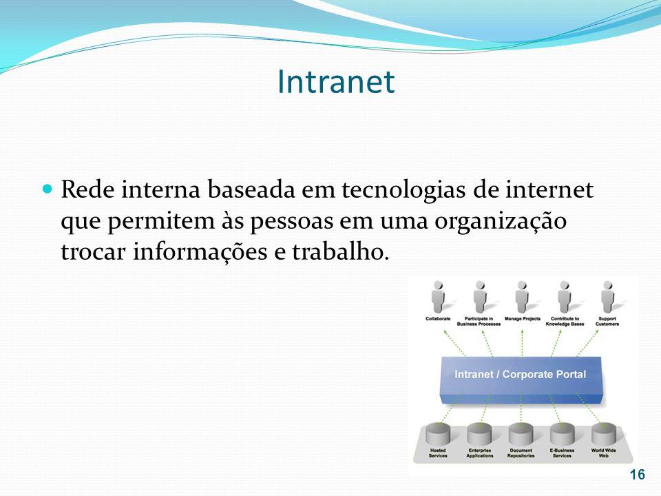 Intranet Rede interna baseada em tecnologias de internet que permitem às pessoas em uma organização trocar informações e trabalho. 16