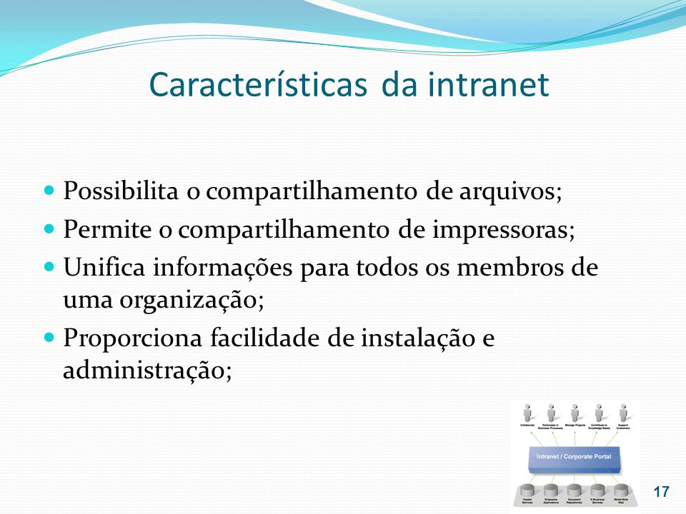 Características da intranet Possibilita o compartilhamento de arquivos; Permite o compartilhamento de impressoras; Unifica informações para todos os m
