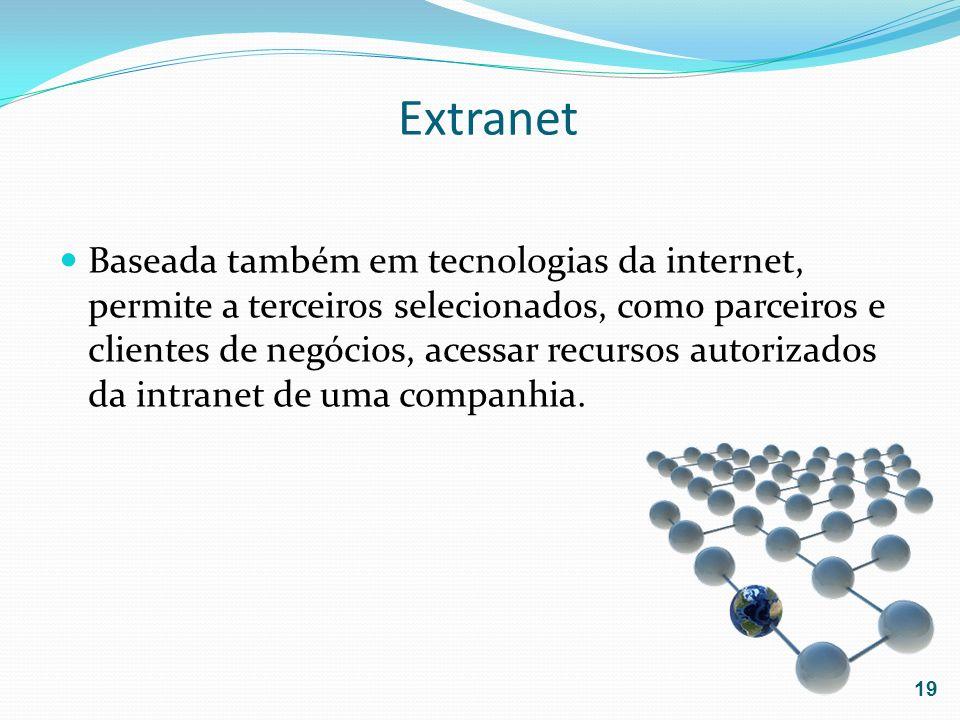 Extranet Baseada também em tecnologias da internet, permite a terceiros selecionados, como parceiros e clientes de negócios, acessar recursos autoriza