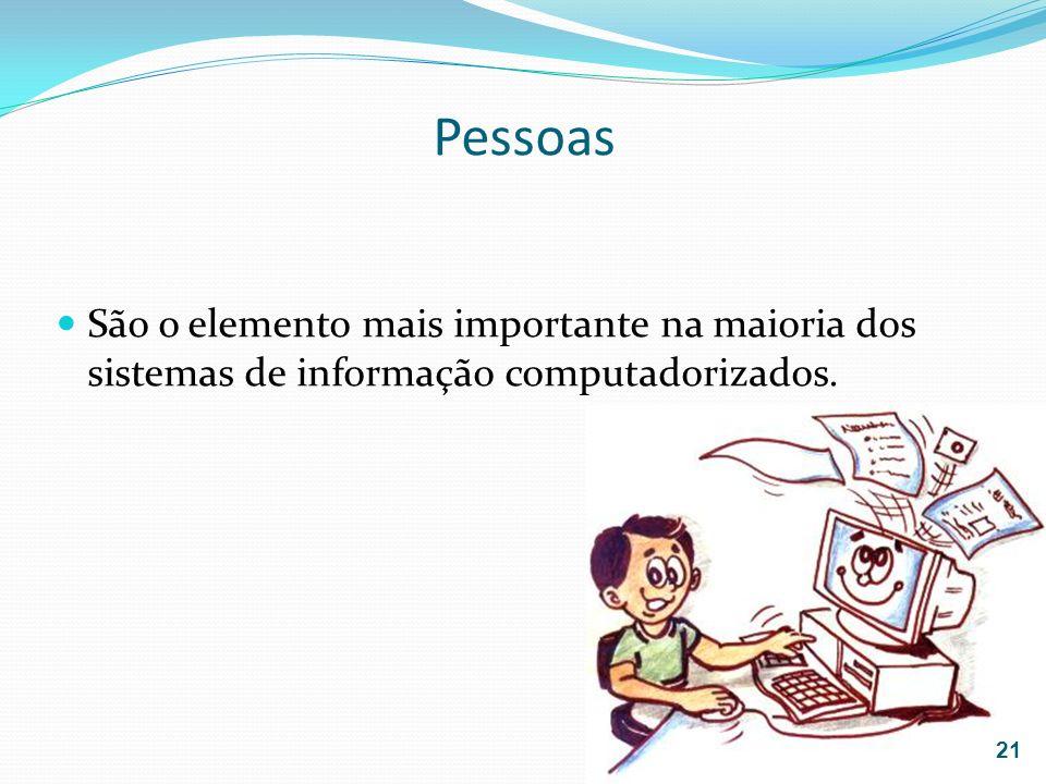 Pessoas São o elemento mais importante na maioria dos sistemas de informação computadorizados. 21