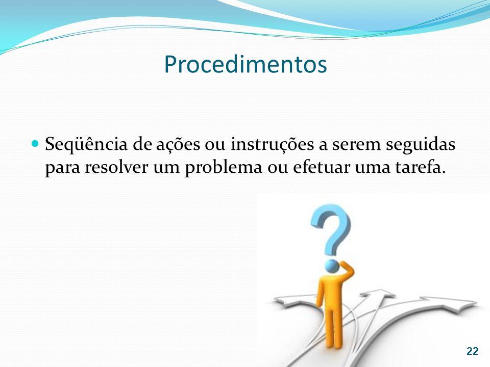Procedimentos Seqüência de ações ou instruções a serem seguidas para resolver um problema ou efetuar uma tarefa. 22