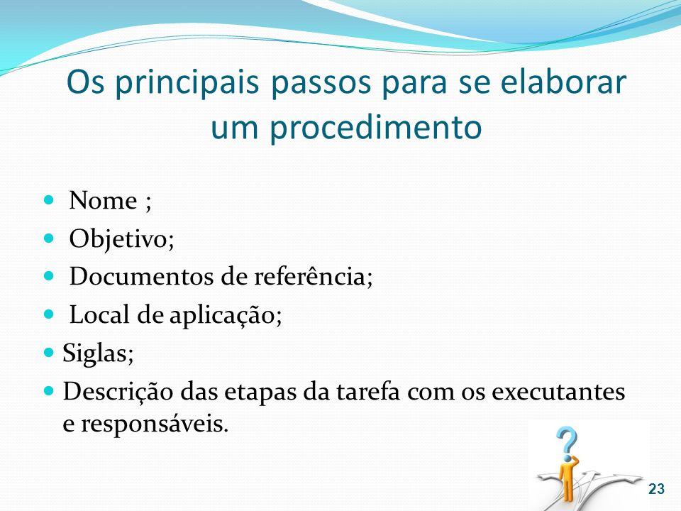 Os principais passos para se elaborar um procedimento Nome ; Objetivo; Documentos de referência; Local de aplicação; Siglas; Descrição das etapas da t