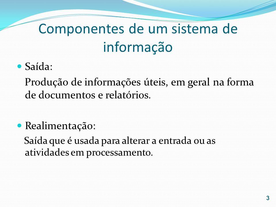 Componentes de um sistema de informação Saída: Produção de informações úteis, em geral na forma de documentos e relatórios. Realimentação: Saída que é