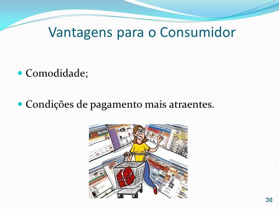 Vantagens para o Consumidor Comodidade; Condições de pagamento mais atraentes. 30