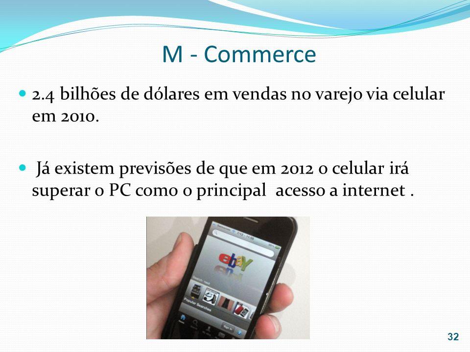 M - Commerce 2.4 bilhões de dólares em vendas no varejo via celular em 2010. Já existem previsões de que em 2012 o celular irá superar o PC como o pri