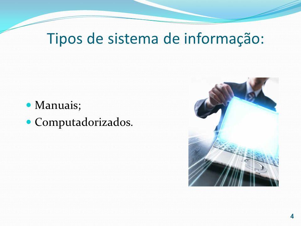 Tipos de sistema de informação: Manuais; Computadorizados. 4