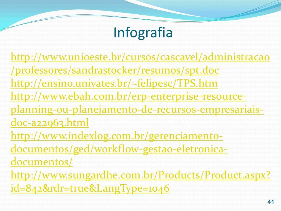 Infografia 41 http://www.unioeste.br/cursos/cascavel/administracao /professores/sandrastocker/resumos/spt.doc http://ensino.univates.br/~felipesc/TPS.