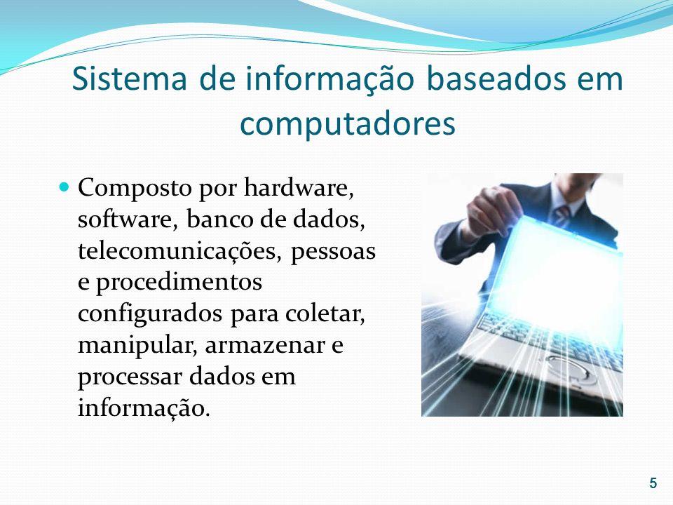 Sistema de informação baseados em computadores Composto por hardware, software, banco de dados, telecomunicações, pessoas e procedimentos configurados