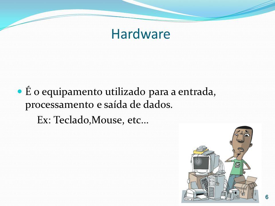 Hardware É o equipamento utilizado para a entrada, processamento e saída de dados. Ex: Teclado,Mouse, etc... 6