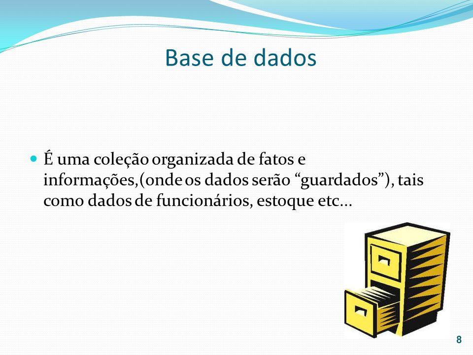 Base de dados É uma coleção organizada de fatos e informações,(onde os dados serão guardados), tais como dados de funcionários, estoque etc... 8