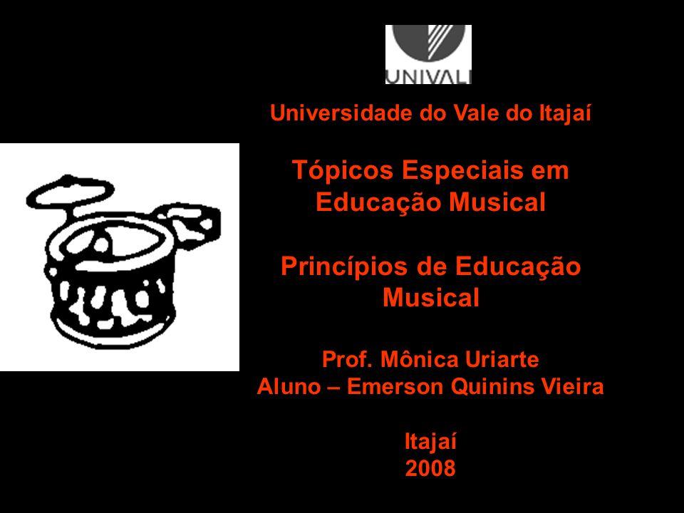 Universidade do Vale do Itajaí Tópicos Especiais em Educação Musical Princípios de Educação Musical Prof. Mônica Uriarte Aluno – Emerson Quinins Vieir