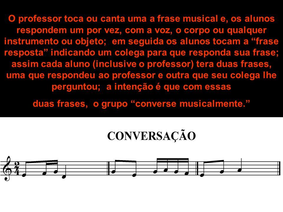 O professor toca ou canta uma a frase musical e, os alunos respondem um por vez, com a voz, o corpo ou qualquer instrumento ou objeto; em seguida os a