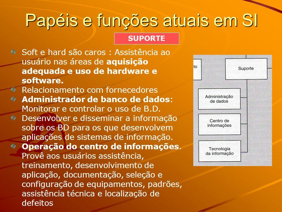 Papéis e funções atuais em SI Soft e hard são caros : Assistência ao usuário nas áreas de aquisição adequada e uso de hardware e software. Relacioname