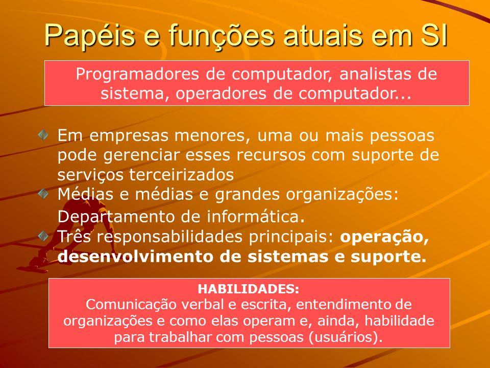Papéis e funções atuais em SI Programadores de computador, analistas de sistema, operadores de computador... HABILIDADES: Comunicação verbal e escrita