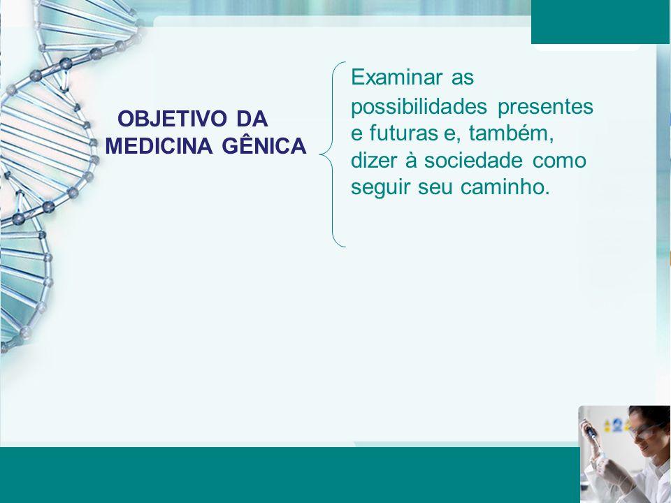 Aula 6 – Momento 2 OBJETIVO DA MEDICINA GÊNICA Examinar as possibilidades presentes e futuras e, também, dizer à sociedade como seguir seu caminho.