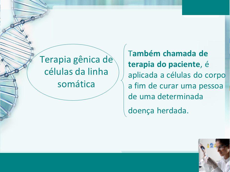 Aula 6 – Momento 2 Terapia gênica de células da linha somática Também chamada de terapia do paciente, é aplicada a células do corpo a fim de curar uma