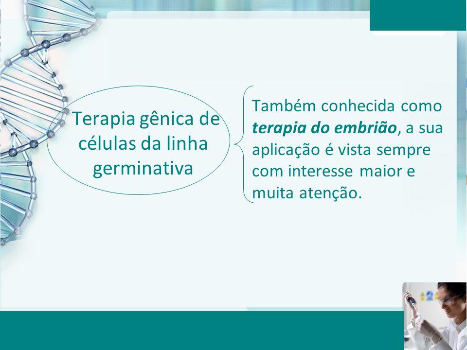 Aula 6 – Momento 2 Terapia gênica de células da linha germinativa Também conhecida como terapia do embrião, a sua aplicação é vista sempre com interes