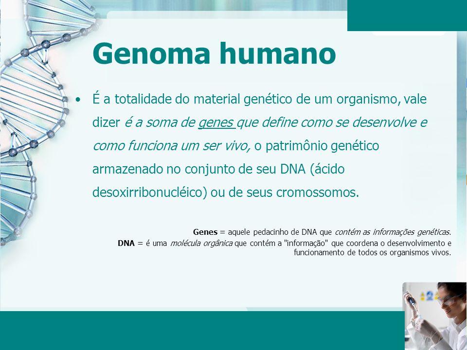 Aula 6 – Momento 2 Genoma humano É a totalidade do material genético de um organismo, vale dizer é a soma de genes que define como se desenvolve e com