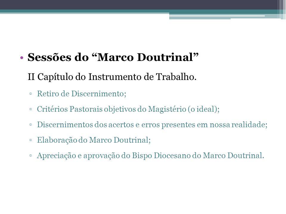 Sessões do Marco Doutrinal II Capítulo do Instrumento de Trabalho. Retiro de Discernimento; Critérios Pastorais objetivos do Magistério (o ideal); Dis