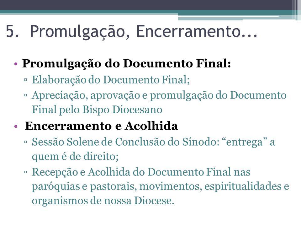 Promulgação do Documento Final: Elaboração do Documento Final; Apreciação, aprovação e promulgação do Documento Final pelo Bispo Diocesano Encerrament