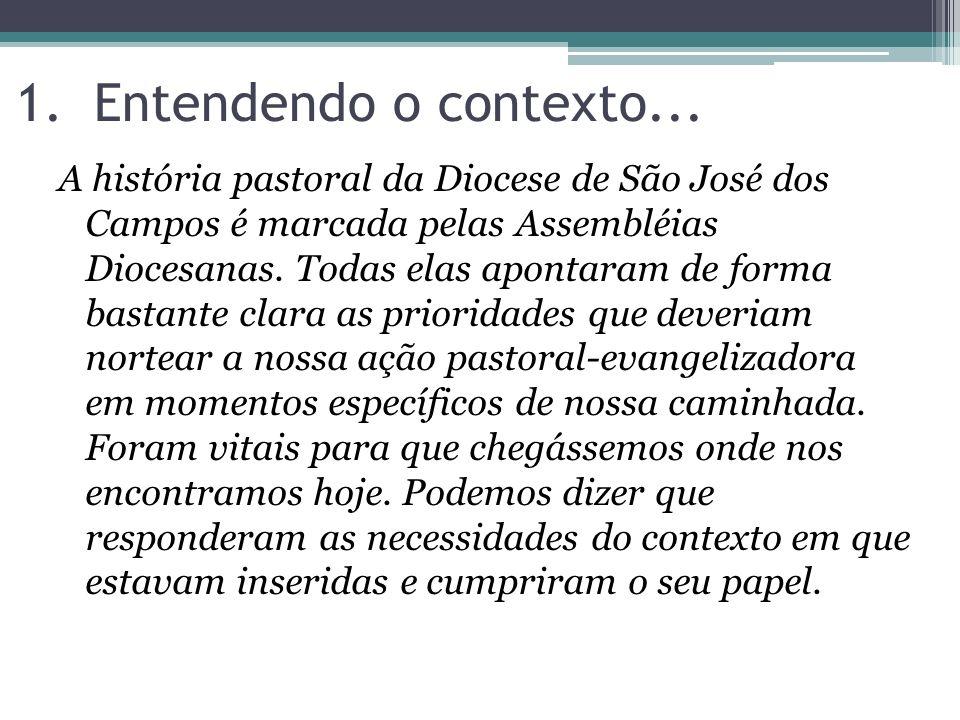 1.Entendendo o contexto... A história pastoral da Diocese de São José dos Campos é marcada pelas Assembléias Diocesanas. Todas elas apontaram de forma