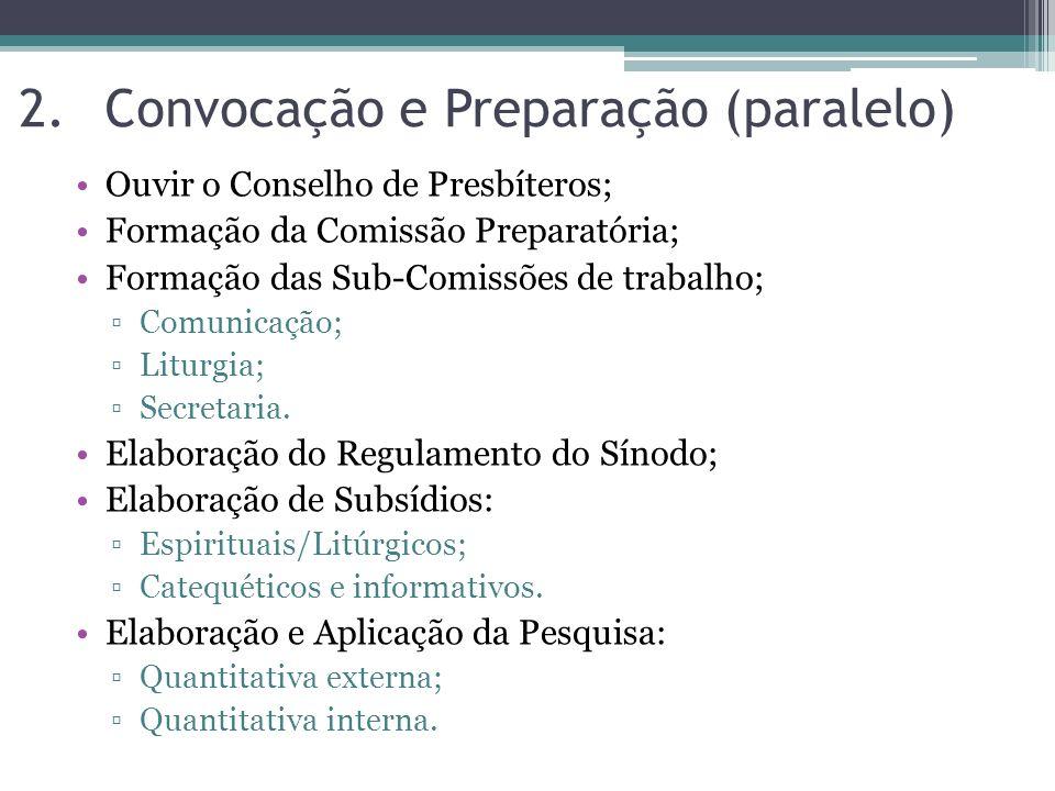 Ouvir o Conselho de Presbíteros; Formação da Comissão Preparatória; Formação das Sub-Comissões de trabalho; Comunicação; Liturgia; Secretaria. Elabora