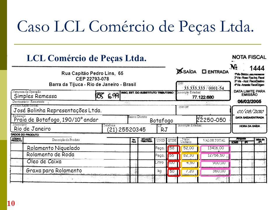 Rua Capitão Pedro Lins, 65 CEP 22793-078 Barra da Tijuca - Rio de Janeiro - Brasil 33.333.333 / 0001-54 01/08/2010 1444 10